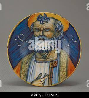 Plate with Saint Peter (Piatto), Faenza (probably), Ravenna, Emilia-Romagna, Italy, about 1500 - 1520, Tin-glazed reimagined - Stock Photo