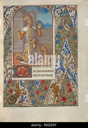 King David in Prayer, Jean Bourdichon (French, 1457 - 1521), Provence, France, about 1480 - 1490, Tempera colors reimagined - Stock Photo