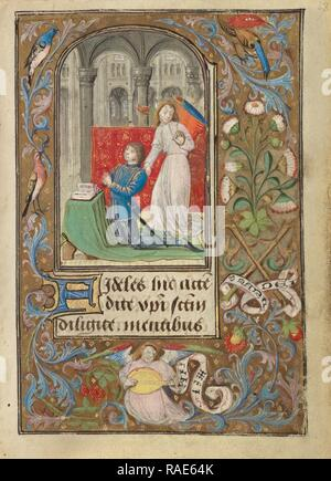 Charles the Bold Presented by an Angel, Lieven van Lathem (Flemish, about 1430 - 1493), Antwerp (illuminated reimagined - Stock Photo