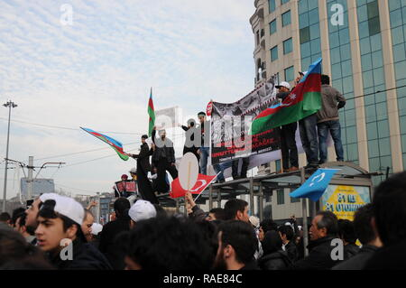FEBRUARY 26,2012 ISTANBUL TURKEY.The protesters in Taksim Square protesting Khojaly tragedy happened in Azerbaijan by Armenians. - Stock Photo