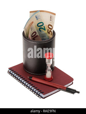 10, 20, 50 euro banknotes in a black leather holder, ballpoint pen, spiral notebook and hourglass isolated on white background - Stock Photo