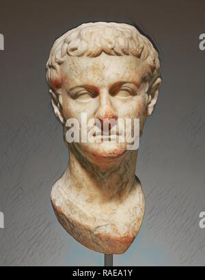 Head of Emperor Caligula, Asia Minor, about 40, Marble, 43 × 21.5 × 25 cm (16 15,16 × 8 7,16 × 9 13,16 in reimagined - Stock Photo