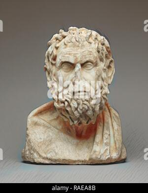 Herm Bust of a Greek Philosopher, Roman Empire, late 1st century, Italian marble, 39 × 31.3 × 19.5 cm (15 3,8 × 12 5, reimagined - Stock Photo