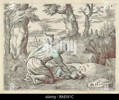 Simson find honey in the dead lion, Cornelis Massijs, 154. Reimagined by Gibon. Classic art with a modern twist reimagined - Stock Photo