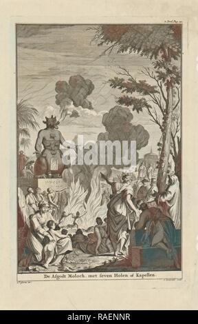 Human sacrifice to the idol Moloch, Jan Lamsvelt, 1684 - 174. Reimagined by Gibon. Classic art with a modern twist reimagined - Stock Photo