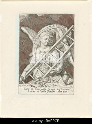 Angel with the ladder, hammer, nails and gallipot, Aegidius Sadele. Reimagined by Gibon. Classic art with a modern reimagined - Stock Photo