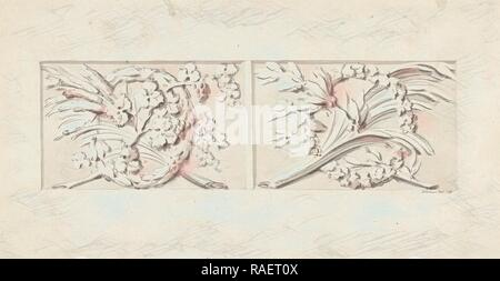 Design for two decorations in rectangular recessed surfaces, Bartholomeus Ziesenis, 178. Reimagined by Gibon. Classic reimagined - Stock Photo