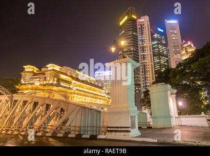 Fullerton Hotel at Anderson Bridge, Singapore - Stock Photo