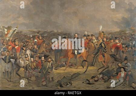 The Battle of Waterloo Belgium, Jan Willem Pieneman, 182. Reimagined by Gibon. Classic art with a modern twist reimagined - Stock Photo