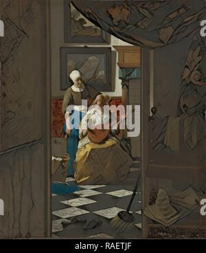 The Love Letter, Johannes Vermeer, c. 1669 - c. 167. Reimagined by Gibon. Classic art with a modern twist reimagined - Stock Photo