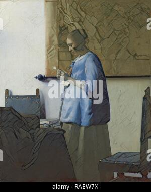 Woman Reading a Letter, Johannes Vermeer, c. 166. Reimagined by Gibon. Classic art with a modern twist reimagined - Stock Photo