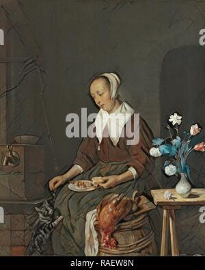 Woman Eating, Known as The Cat's Breakfast, Gabriël Metsu, c. 1661 - c. 166. Reimagined by Gibon. Classic art reimagined - Stock Photo