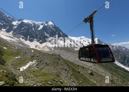 Cable Car of Aiguille du Midi in Chamonix, France. L'Aiguille du Midi is a mountain located in the Mont Blanc Massif, which with an altitude of 3,842  - Stock Photo