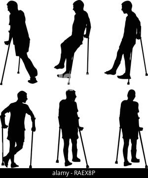 Man walk on crutches with broken leg - Stock Photo