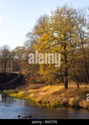 View from pedestrian bridge of the river Neisse flowing through Muskau Park (UNESCO world heritage site) in Upper Lusatia on the German-Polish border - Stock Photo