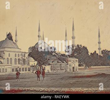 Sultan Ahmed's Mosque, Felice Beato (English, born Italy, 1832 - 1909), James Robertson (English, 1813 - 1888), 1855 reimagined - Stock Photo