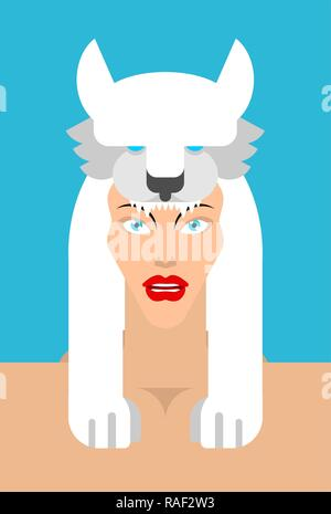 Girl with white Wolf headdress. woman face and wolf head - Stock Photo