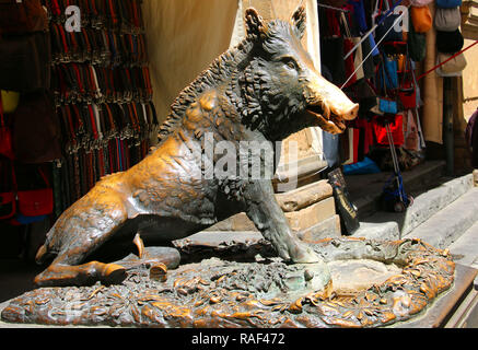 Statue of a boar called 'Il Porcellino' is one of the landmarks of Florence, Italy - Stock Photo