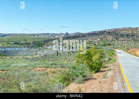PAKHUIS PASS, SOUTH AFRICA, AUGUST 28, 2018: A farm landscape on road R364 at the Northern end of the Pakhuis Pass in the Cederberg Mountains of the W - Stock Photo