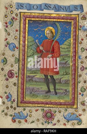 Saint Ossanus, Guglielmo Giraldi (Italian, active 1445 - 1489), Ferrara, Emilia-Romagna, Italy, about 1469, Tempera reimagined - Stock Photo