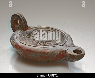 Lamp, Central Anatolia, Anatolia, 1st century B.C. - 4th century A.D, Terracotta, 4.3 × 10.5 × 16 cm (1 11,16 × 4 1,8 reimagined - Stock Photo