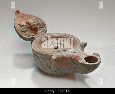 Lamp, Central Anatolia, Anatolia, 1st century B.C. - 4th century A.D, Terracotta, 5.5 x 9 x 22.7 cm (2 3,16 x 3 9,16 reimagined - Stock Photo