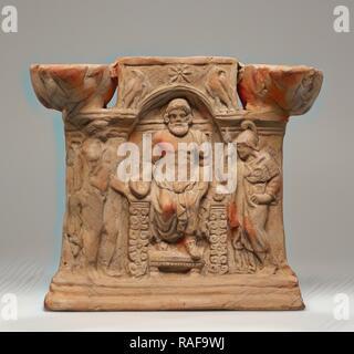Lamp, Central Anatolia, Anatolia, 1st century, Terracotta, 17 × 16 × 7.6 cm (6 11,16 × 6 5,16 × 3 in.). Reimagined - Stock Photo