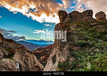 Italy Basilicata Dolomiti Lucane Castelmezzano remains of the castle - Stock Photo