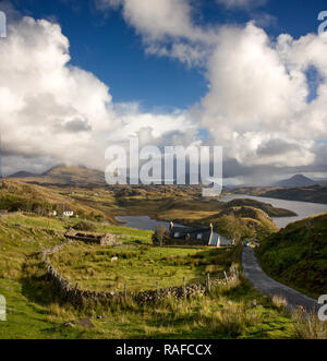 The Reay Forest sen from Badcall near Kinlochbervie in Sutherland - Stock Photo