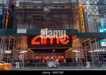 The AMC 25 Theatre in Times Square in New York on Monday, December 24, 2018. Hollywood has already reported a blockbuster year with over $11.83 billion in ticket sales, citing multiple hits, and there is still the lucrative Christmas week to go to finish off the year. (© Richard B. Levine) - Stock Photo