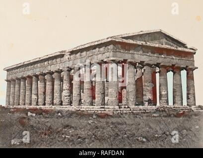 The Temple of Neptune, Paestum, Giorgio Sommer (Italian, born Germany, 1834 - 1914), Salerno, Italy, about 1855 reimagined - Stock Photo