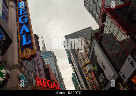 The Regal Cinemas in Times Square in New York on Monday, December 24, 2018. Hollywood has already reported a blockbuster year with over $11.83 billion in ticket sales, citing multiple hits, and there is still the lucrative Christmas week to go to finish off the year. (© Richard B. Levine) - Stock Photo