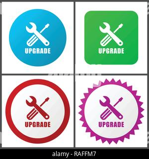 Upgrade vector icon set. Flat design web icons in eps 10. Colorful internet buttons in four versions - Stock Photo