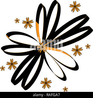 illustration ties forming a flower with 3d image in black and golden yellow color with white background - Stock Photo