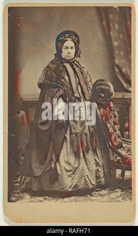 elderly woman wearing a fur coat and hat, standing, Partridge (American, active Bridgeport, Connecticut 1870s - 1890s reimagined - Stock Photo