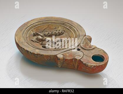 Lamp, North Africa, 1st - 4th century, Terracotta, 2.3 x 7.6 x 11 cm (7,8 x 3 x 4 5,16 in.). Reimagined - Stock Photo