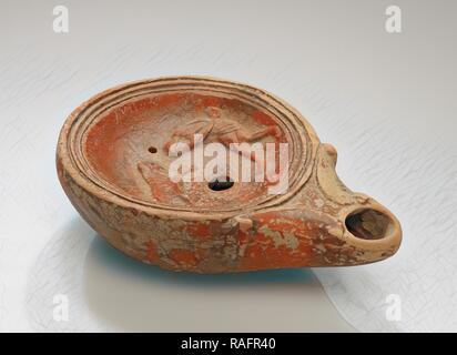 Lamp, North Africa, 1st - 4th century, Terracotta, 3 x 7 x 10.2 cm (1 3,16 x 2 3,4 x 4 in.). Reimagined - Stock Photo