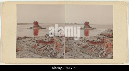 Rock in the midst of Jamuna, about 1900, Gelatin silver print. Reimagined by Gibon. Classic art with a modern twist reimagined - Stock Photo