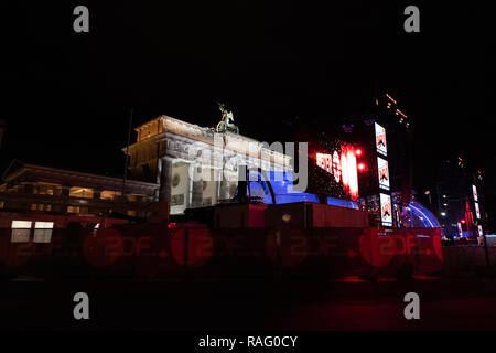 Famous German sight Brandenburger Tor at New Year's Eve - Stock Photo