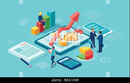 Vector of data analysis concept with team of businesspeople growing successful business using modern technology gadgets - Stock Photo