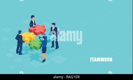 Teamwork concept banner. Isometric vector of business people solving a problem in team isolated on blue background. - Stock Photo