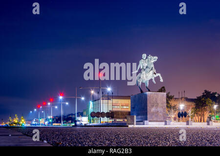 Statue of the famous king Alexander the Great at night, in the harbor of Thessaloniki Greece - Stock Photo