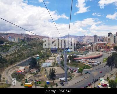 LA PAZ, BOLIVIA, DEC 2018: Aerial view of La Paz, Bolivia from a cable car. City center. South America - Stock Photo