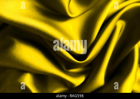 Smooth elegant yellow silver silk or satin luxury cloth fabric texture, abstract background design, banner or gift card. - Stock Photo