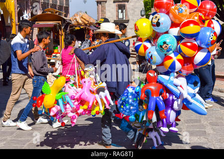 Man selling balloons , San Miguel de Allende , Mexico - Stock Photo