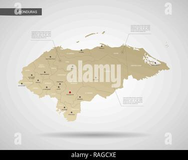 Stylized vector Honduras map.  Infographic 3d gold map illustration with cities, borders, capital, administrative divisions and pointer marks, shadow; - Stock Photo