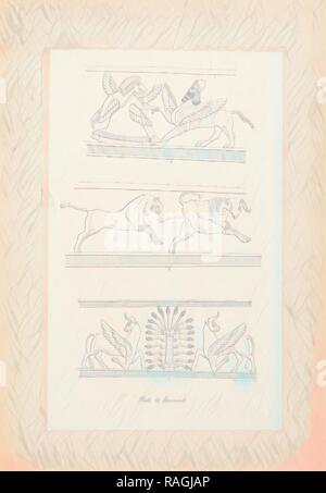The monuments of Nineveh: from drawings made on the spott: first series, Layard, Austen Henry, Sir, 1817-1894, 1849 reimagined - Stock Photo