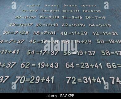 Goldbach's conjecture, illustration. The 18th century mathematician Christian Goldbach conjectured that every even integer greater than 2 can be written as the sum of two primes. This remains one of the most famous unproven conjectures in mathematics. - Stock Photo