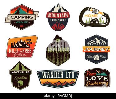 Vintage outdoors logos set. Hand drawn mountain travel badges, wildlife emblems. Camping labels concepts. Explorer illustrations. Stock vector patches isolated on white background. - Stock Photo