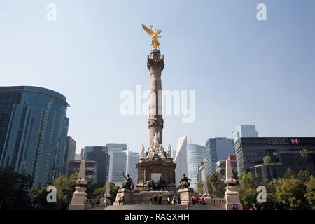 The Angel of Independence in Mexico City, Mexico on November 23, 2018. El Ángel was built in 1910 during the presidency of Porfirio Díaz by architect  - Stock Photo